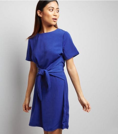 Petite Blue Tie Front A-Line Dress | New Look