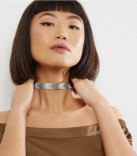 Silver Chevron Stone Choker | New Look