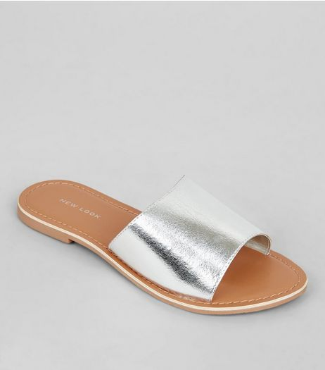 Silver Leather Sliders | New Look