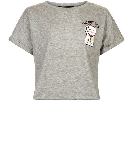Teens Grey Lucky Cat Slogan T-shirt | New Look