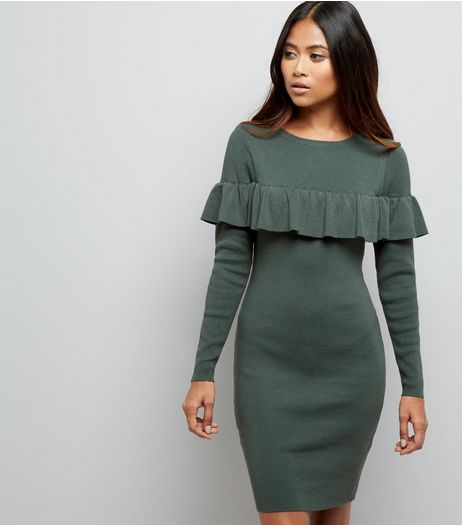 Petite Khaki Knitted Frill Trim Midi Dress | New Look