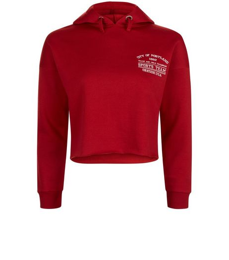 Teens Red Embroidered Detail Cropped Hoodie | New Look