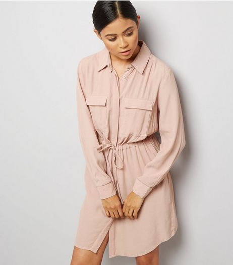 Petite Shell Pink Double Pocket Shirt Dress | New Look