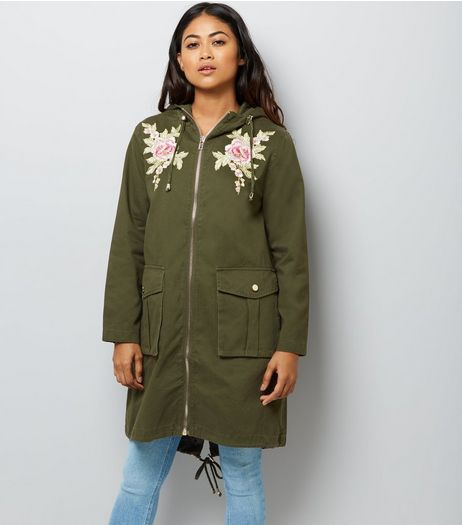 Petite Khaki Floral Embroidered Parka | New Look