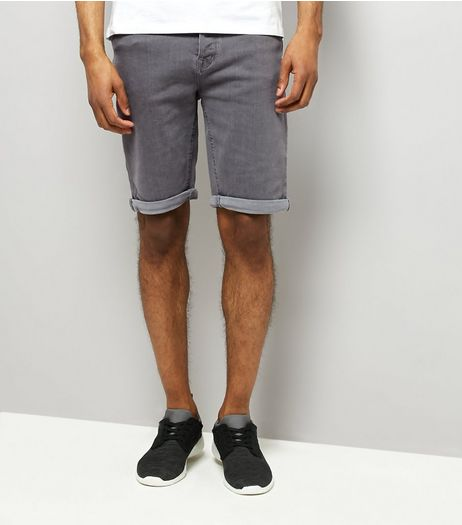 Pale Grey Slim Leg Stretch Denim Shorts | New Look