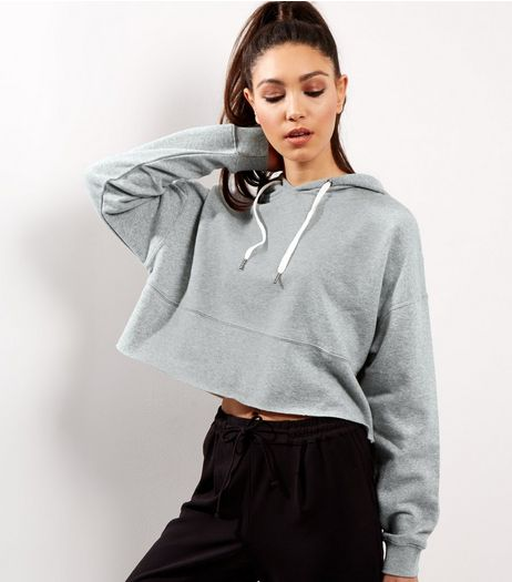 Grey Cropped Hoodie  | New Look