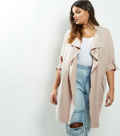 Curves Stone Waterfall Duster Coat | New Look
