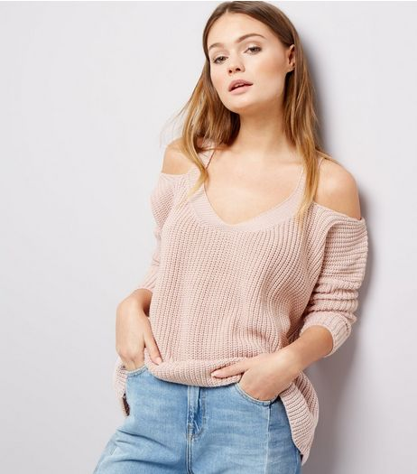 Shell Pink Ribbed V Neck Cold Shoulder Jumper | New Look
