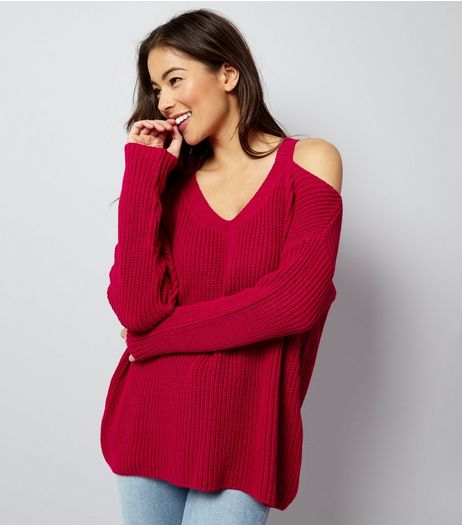 Deep Pink Ribbed V Neck Cold Shoulder Jumper | New Look
