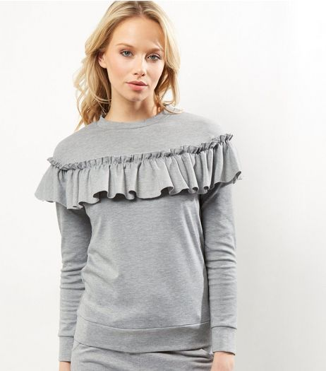 Light Grey Frill Trim Sweater | New Look