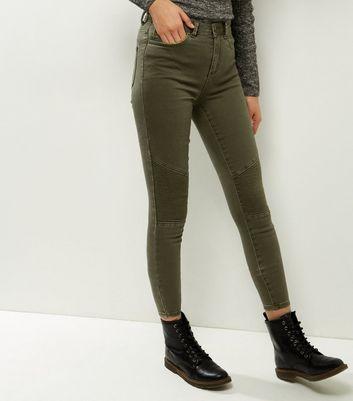 Khaki Seam Trim Biker Skinny Jenna Jeans