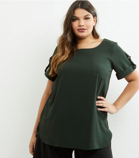 Curves Dark Green Rolled Sleeve Pocket Front T-shirt | New Look