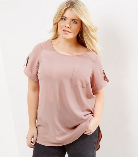 Curves Pink Rolled Sleeve Pocket Front T-shirt | New Look