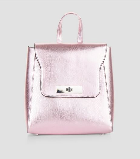 Pink Metallic Mini Backpack | New Look