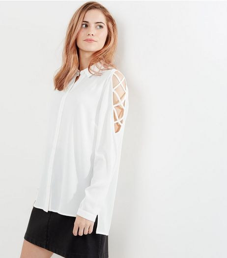 Cream Lattice Shoulder Shirt | New Look