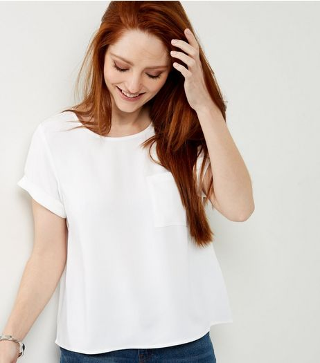 White Roll Sleeve Single Pocket Front T-Shirt  | New Look