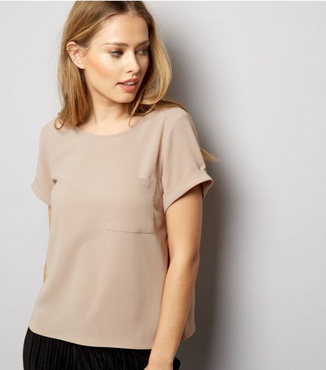 Shell Pink Roll Sleeve Single Pocket Front T-Shirt  | New Look
