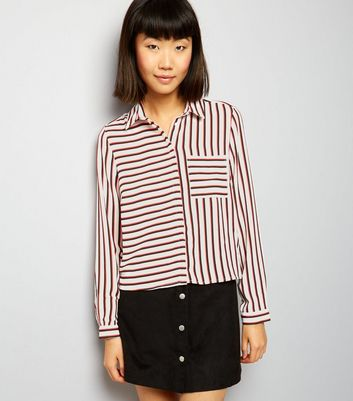 White Contrast Stripe Cropped Shirt