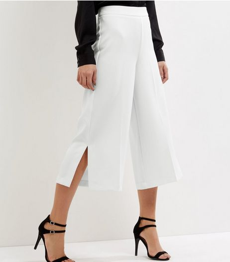 White Crepe Side Split Culottes | New Look