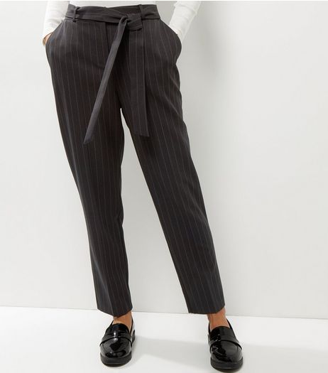 Light Grey Stripe Tie Waist Trousers  | New Look