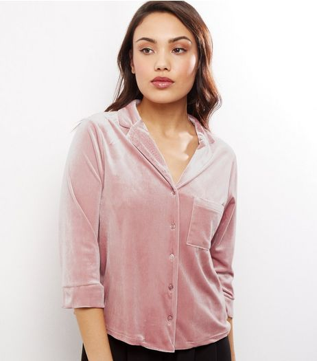 Shell Pink Velvet 3/4 Sleeve Cropped Shirt  | New Look