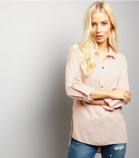 Shell Pink Half Button Front Shirt  | New Look