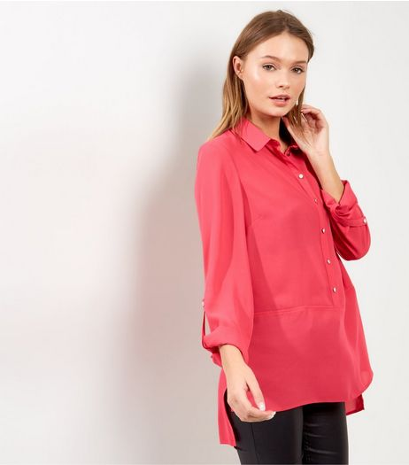 Bright Pink Half Button Front Shirt  | New Look
