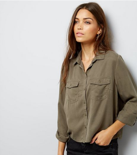 Khaki Double Pocket Cropped Shirt | New Look