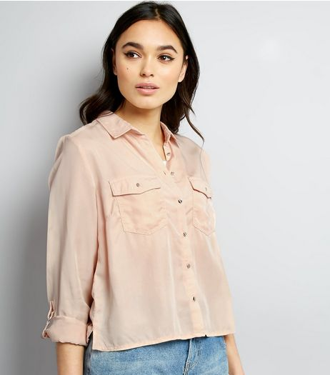 Shell Pink Roll Sleeve Cropped Shirt  | New Look