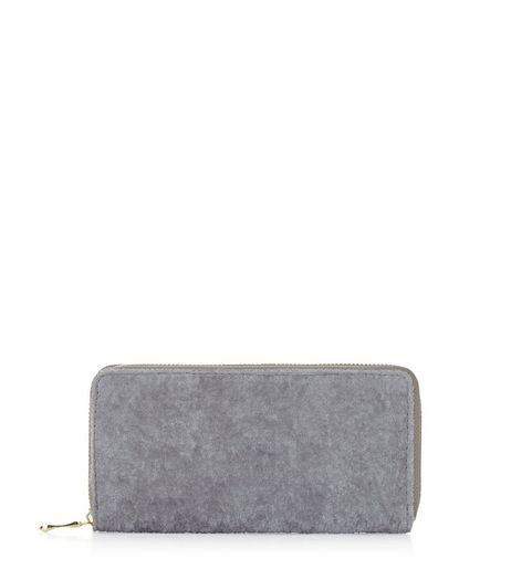Grey Velvet Zip Around Purse | New Look