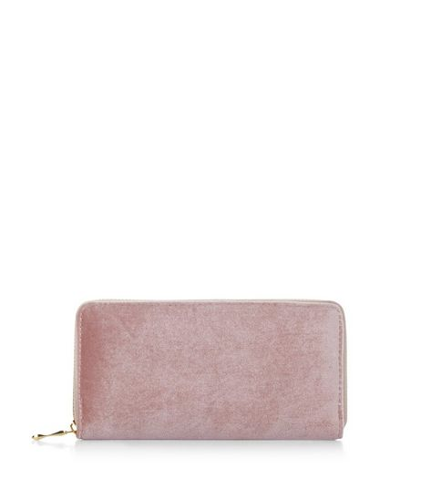 Pink Velvet Zip Around Purse | New Look