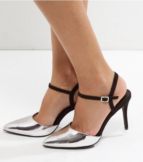 Silver Suedette Trim Ankle Strap Pointed Heels | New Look