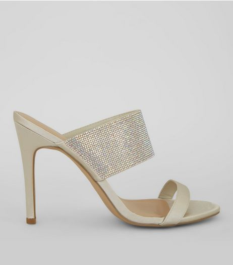 Cream Sateen Wide Glitter Strap Heeled Mules | New Look