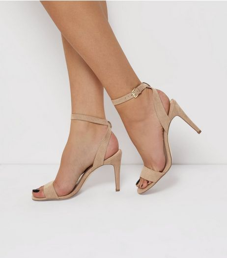 Cream Suedette Heeled Sandals | New Look