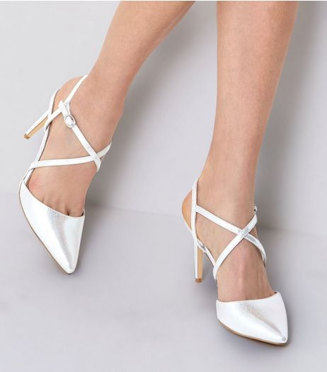 Silver Metallic Slingback Heels | New Look