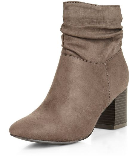 Teens Grey Suedette Slouch Block Heel Ankle Boots | New Look
