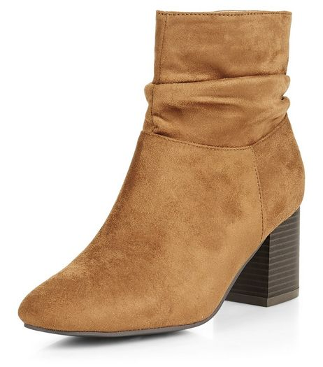 Teens Tan Suedette Slouch Block Heel Ankle Boots | New Look