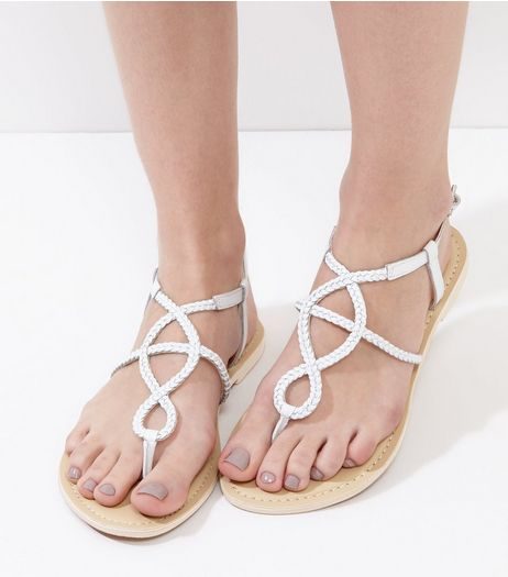 Wide Fit White Leather Plaited Sandals | New Look