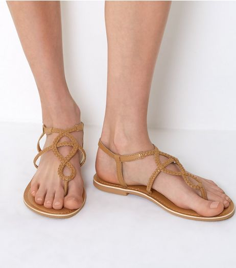 Wide Fit Tan Plaited Sandals | New Look