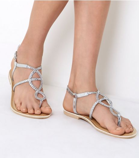 Wide Fit Silver Plaited Sandals | New Look