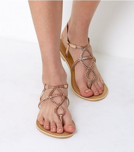 Wide Fit Rose Gold Plaited Sandals | New Look
