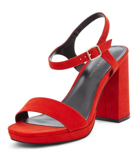 Wide Fit Orange Suedette Platform Sandals | New Look