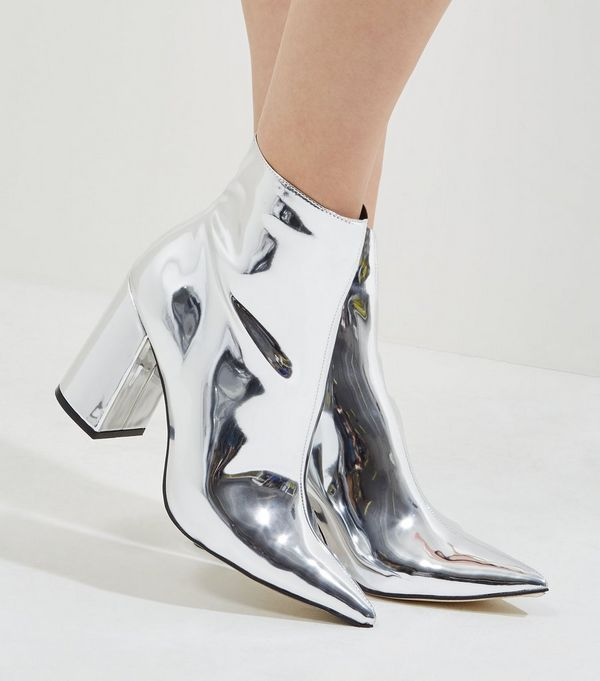 Silver Mirror Pointed Heeled Ankle Boots