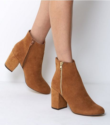 Wide Fit Tan Suedette Heeled Boots  | New Look