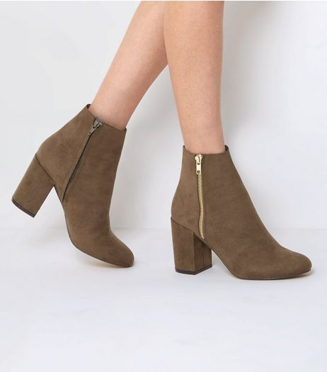 Wide Fit Khaki Suedette Block Heel Boots  | New Look