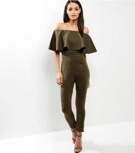 Cameo Rose Frill Trim Bardot Neck Jumpsuit  | New Look