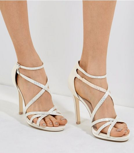Silver Sateen Diamanté Cross Strap Heeled Sandals | New Look