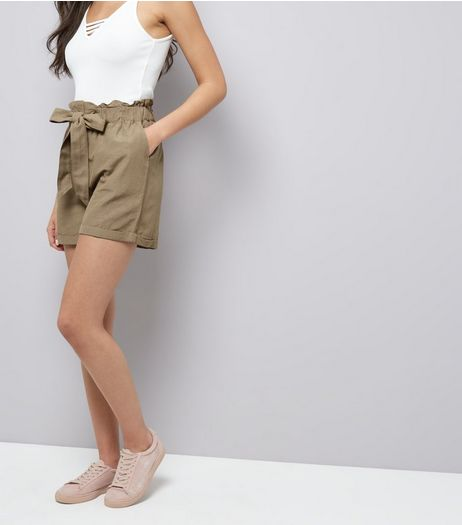 Brave Soul Grey Tie Front Shorts | New Look