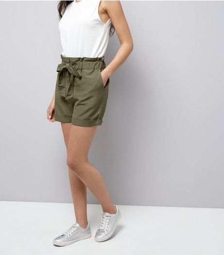 Brave Soul Khaki Tie Front Shorts | New Look