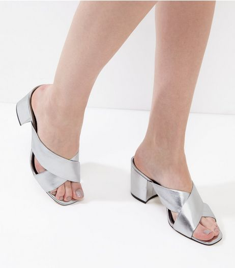 Silver Leather Cross Strap Heeled Mules | New Look